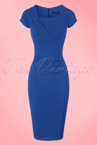 Vintage Chic 50s Laila Pleated Scuba Crepe Pencil Dress in Blue 100 30 21007 20172701 0005w