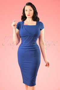 Vintage Chic 50s Laila Pleated Scuba Crepe Pencil Dress in Blue 100 30 21007 20172701 1W