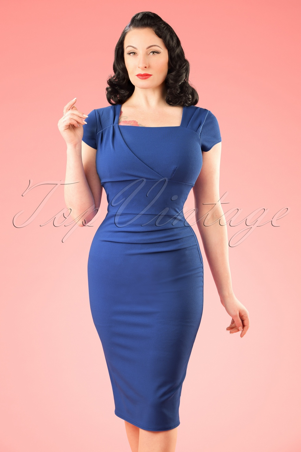 1960s Style Dresses- Retro Inspired Fashion 50s Laila Pleated Pencil Dress in Royal Blue £48.35 AT vintagedancer.com