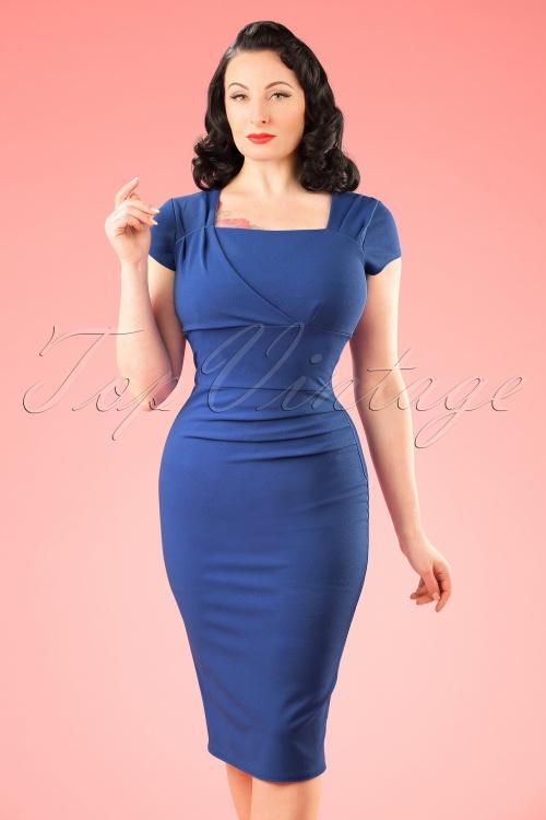 Vintage Chic 50s Laila Pleated Scuba Crepe Pencil Dress in Blue 100 30 21007 20172701 1W
