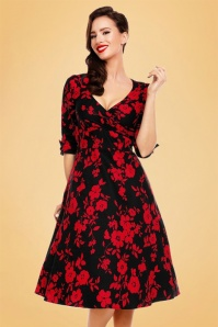 50s Katherine Floral Swing Dress in Black and Red