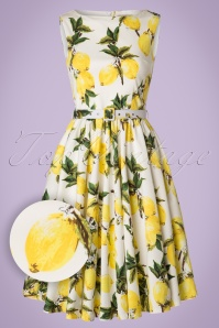 50s Audrey Lemon Swing Dress in White and Yellow