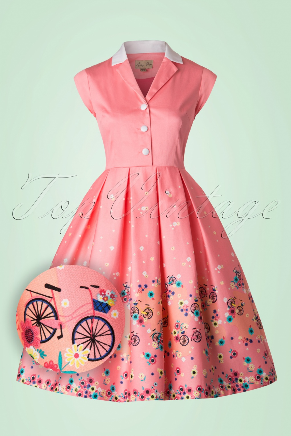 1950s Swing Dresses 50s Gilda Bicycles Swing Dress in Pink £47.73 AT vintagedancer.com