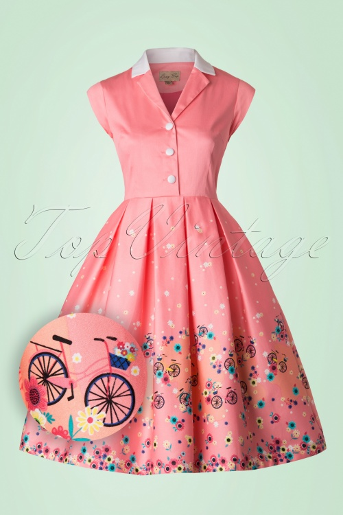 Lindy Bop Gilda Pink Bicycles Swing Dress 102 22 21239 20170301 0003W1