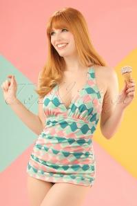 Bettie Page  Blue Pink Bathing Suit  20857 20161223 0025w