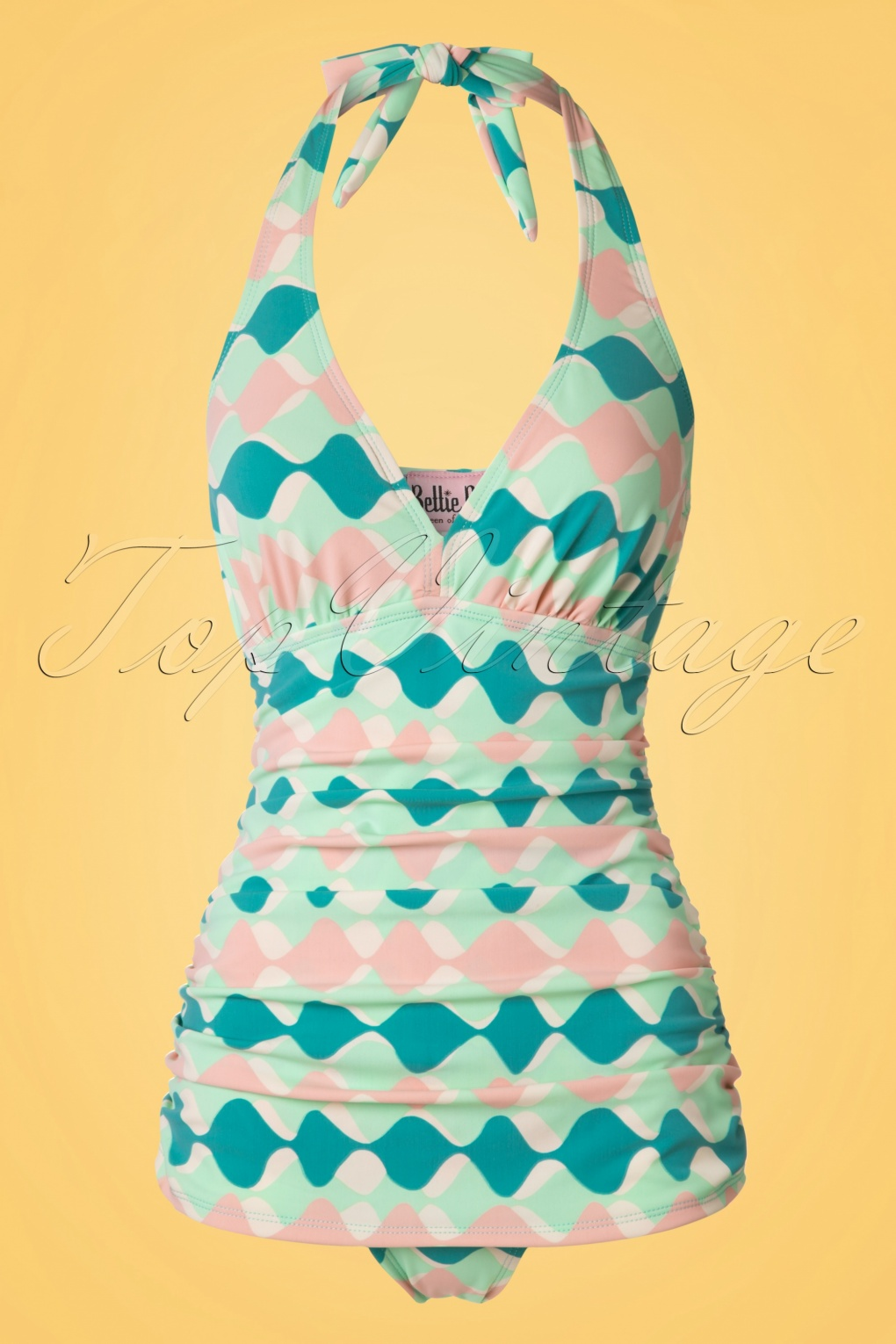 1950s Style Swimsuits, Bathing Suits, Swimwear 50s Retro Rushed Halter Swimsuit in Green and Pink £84.79 AT vintagedancer.com