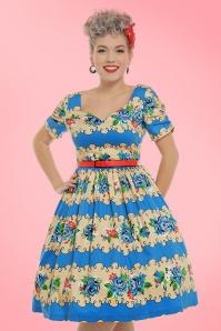 Lindy Bop Francine Blue Rose Swing Dress 102 39 21453 20170301 0024