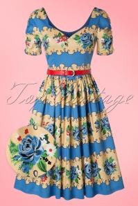 Lindy Bop Francine Blue Rose Swing Dress 102 39 21453 20170301 0011wv