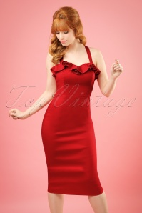 Collectif Clothing Mandy Plain Pencil Dress in Red 20677 20161130 0020w