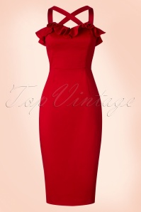 Collectif Clothing Mandy Plain Pencil Dress in Red 20677 20161130 0018w