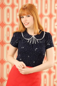 60s Hazel Paris Top in Navy