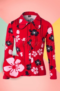 Mademoiselle Yeye Clara Blouse in Red Poppies 19885 20161116 0006W1