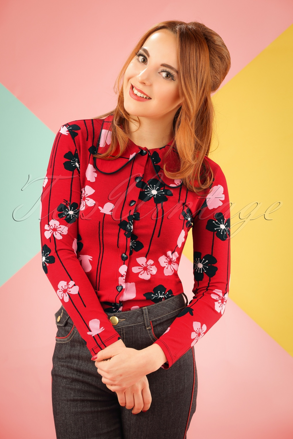 Shop 1960s Style Blouses, Shirts and Tops 60s Cara Poppies Blouse in Red £55.10 AT vintagedancer.com