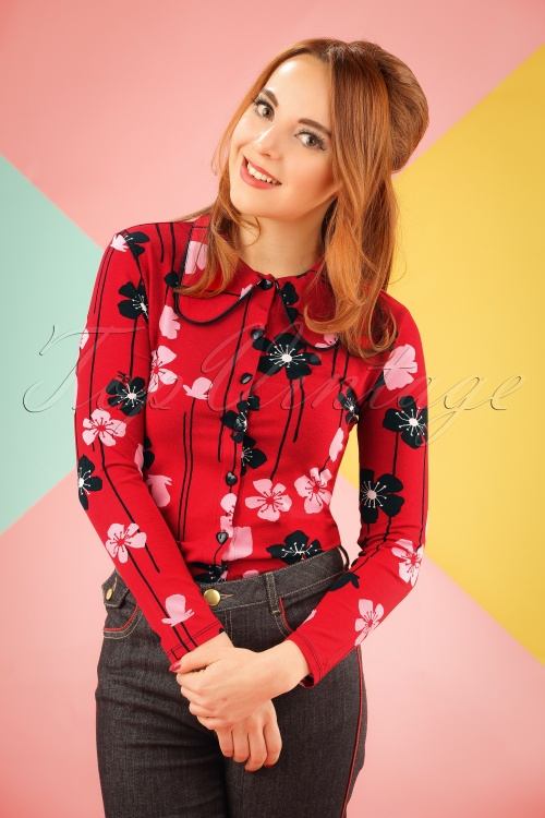 Mademoiselle Yeye Clara Blouse in Red Poppies 19885 20161116 1W
