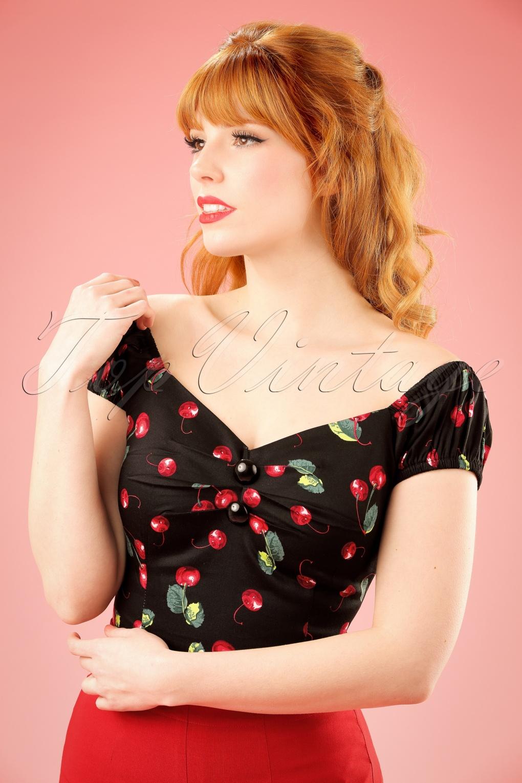 50s Dolores Cherry Top Carmen In Black