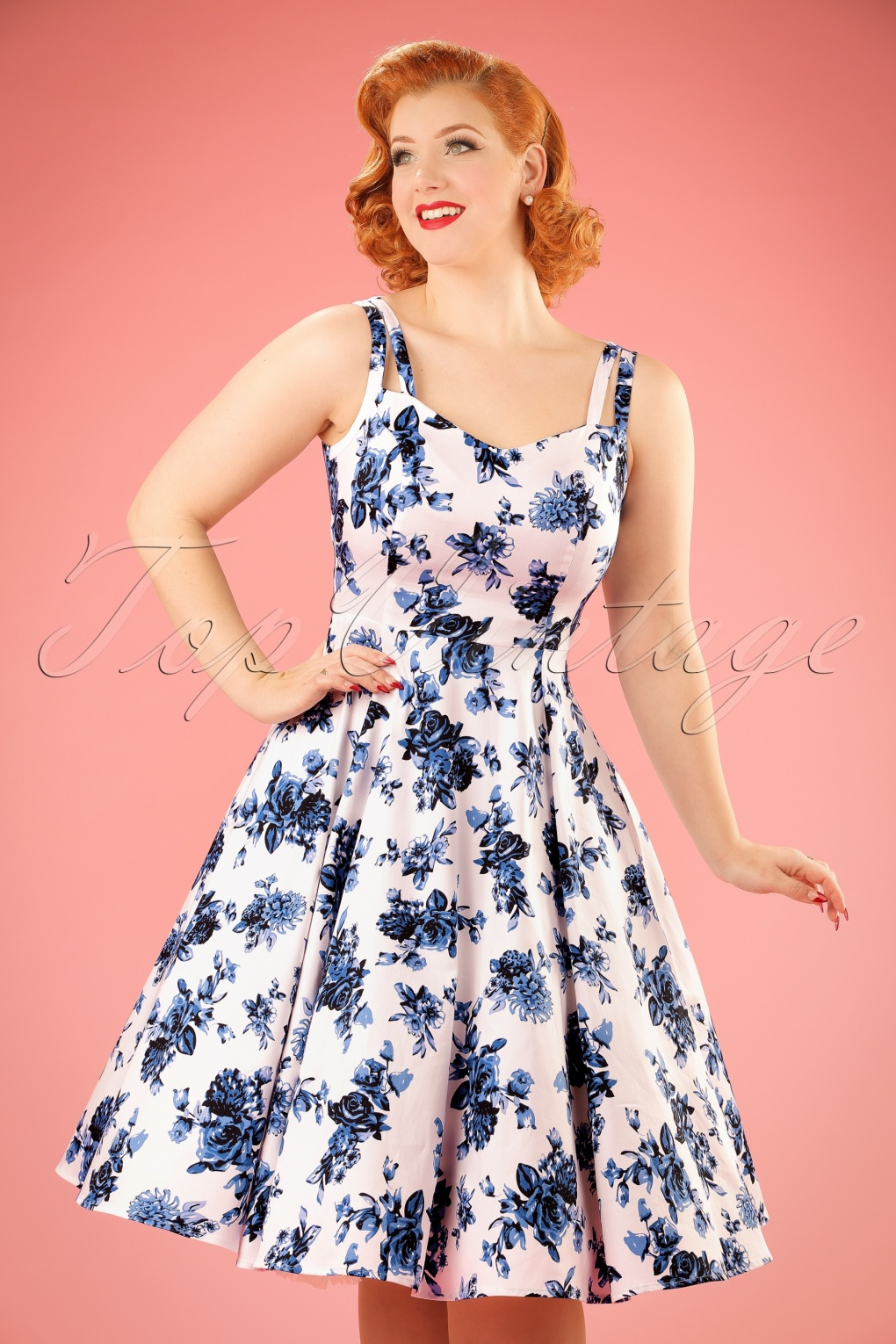 50s Rosaceae Floral Dress In White And Blue