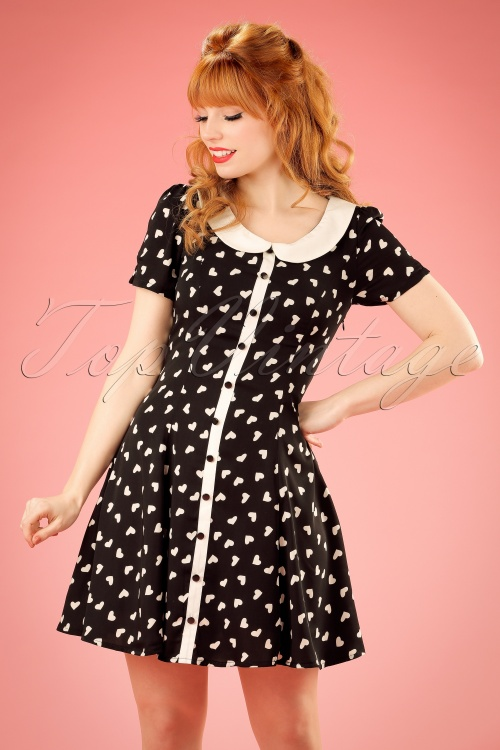 1960s Style Dresses- Retro Inspired Fashion 60s Abby Hearts Dress in Black and Ivory £39.00 AT vintagedancer.com