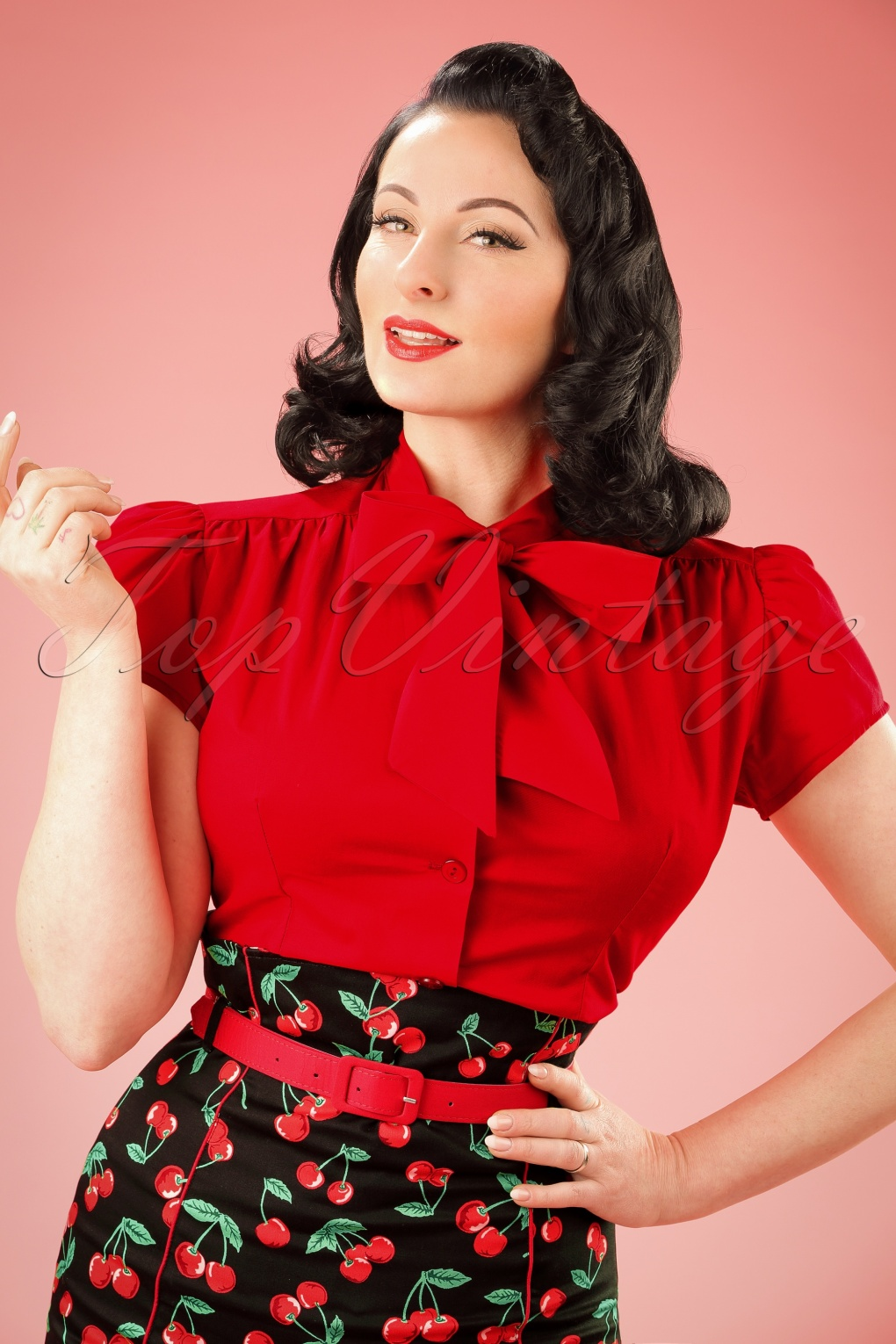 Vintage & Retro Shirts, Halter Tops, Blouses 40s Estelle Blouse in Lipstick Red £33.90 AT vintagedancer.com