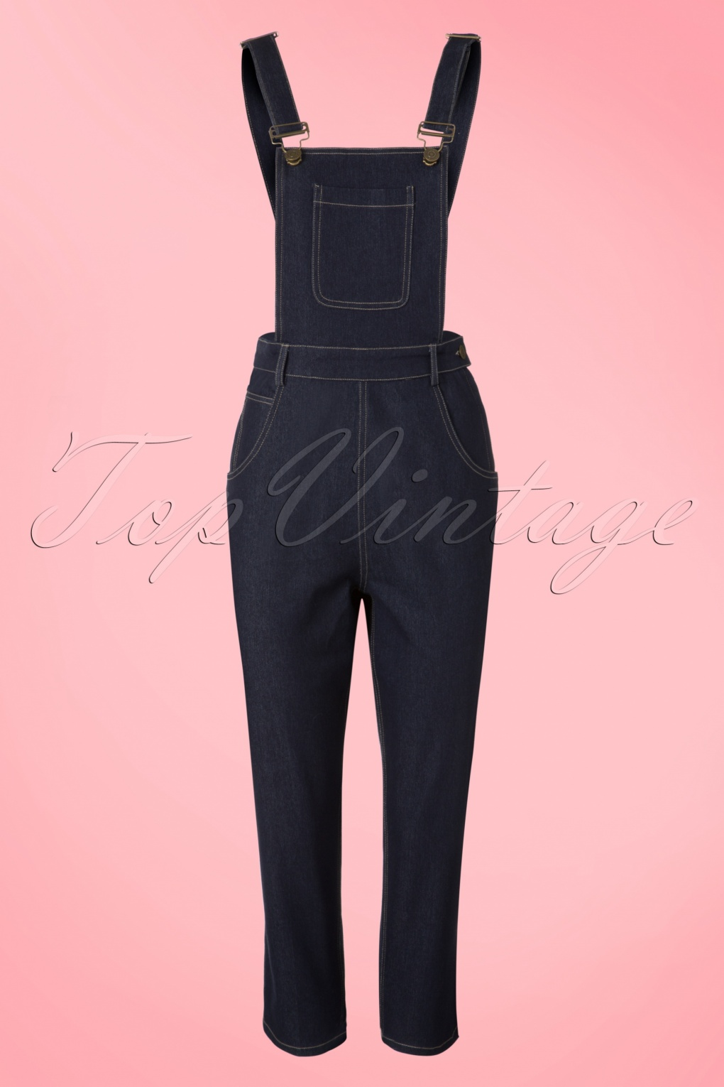 Vintage Overalls 1910s -1950s Pictures and History 50s Coco Denim Dungarees in Navy £56.42 AT vintagedancer.com