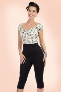 Collectif Clothing Gracie Plain Capris in Black 20648 20161201 0007