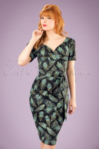 TopVintage Exclusive ~ Rita Peacock Dress Années 60 en Noir