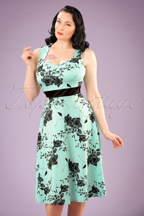 1960s Style Dresses- Retro Inspired Fashion TopVintage Exclusive  50s Veronique Floral Swing Dress in Mint £43.33 AT vintagedancer.com