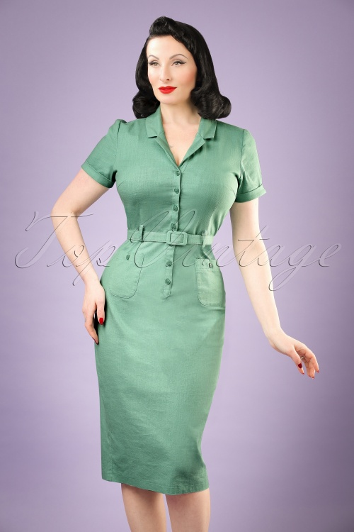 Collectif Clothing Catherina Plain Pencil Dress in Mint Green 20826 20161129 0011w