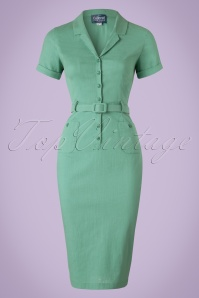 Collectif Clothing Catherina Plain Pencil Dress in Mint Green 20826 20161129 0004w