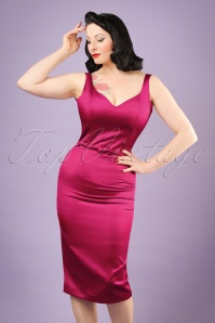 50s Primrose Satin Pencil Dress in Fuchsia