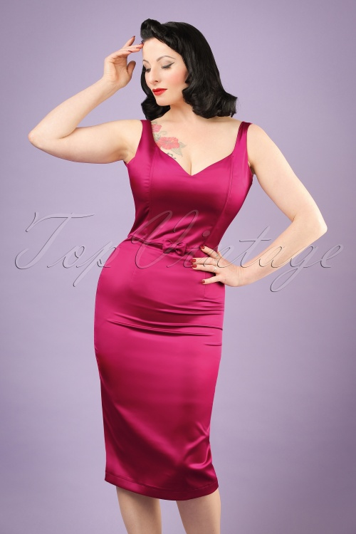 Collectif Clothing Primrose Plain Pencil Dress in Pink 20795 20161125 0016w