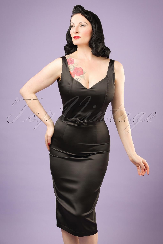 50s Primrose Satin Pencil Dress In Black