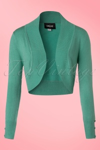 50s Jean Knitted Bolero in Antique Green