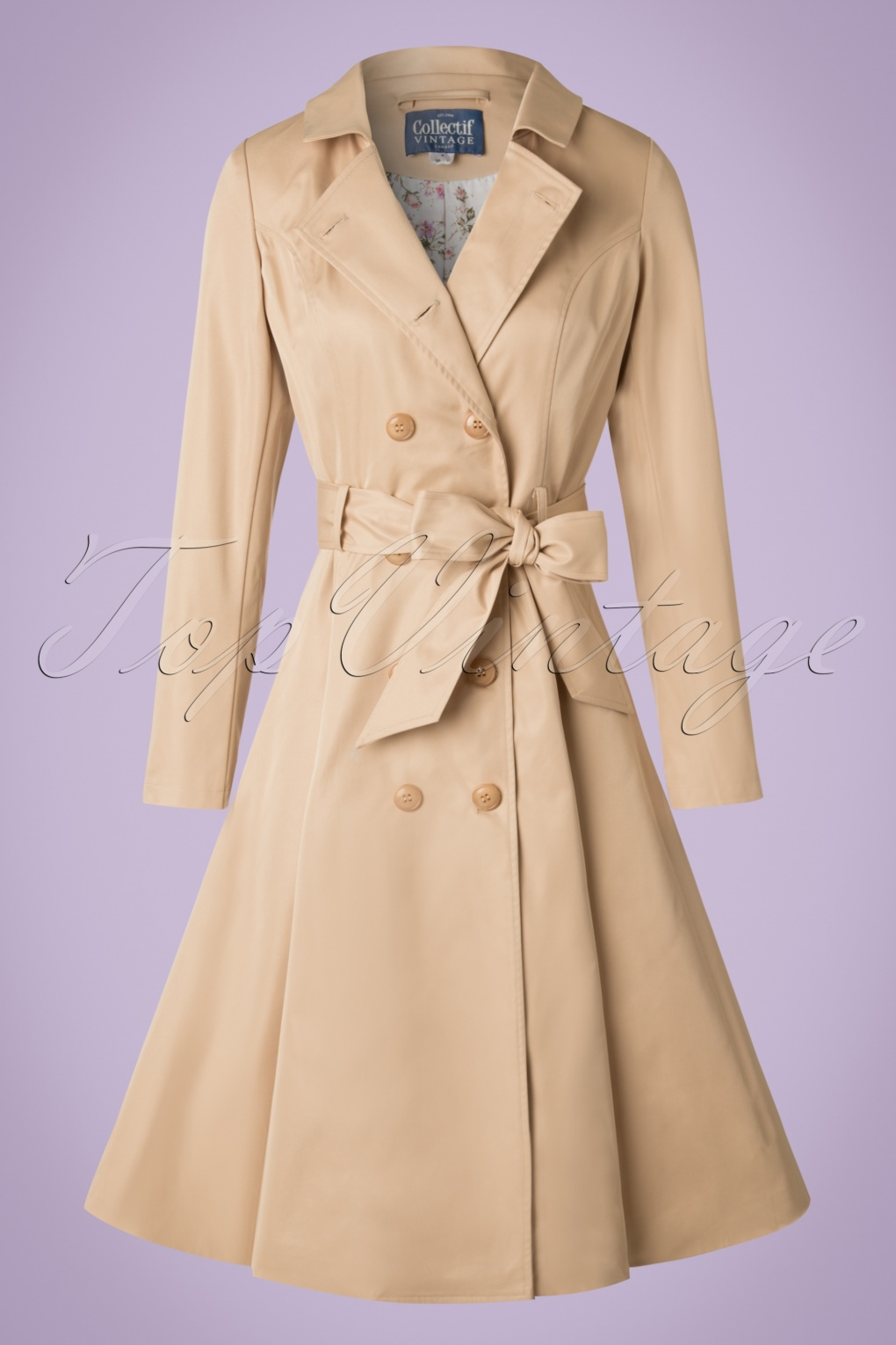 Vintage Coats & Jackets | Retro Coats and Jackets 40s Korrina Swing Trench Coat in Beige £131.44 AT vintagedancer.com