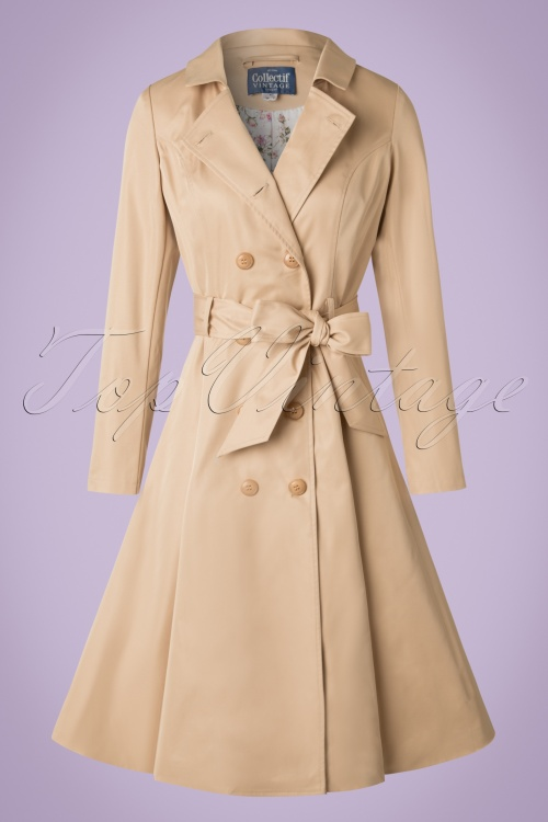 40s korrina swing trench coat in beige. Black Bedroom Furniture Sets. Home Design Ideas