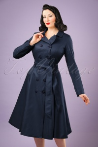 Collectif Clothing Korrina Swing Trench Coat Années 40 en Bleu Marine
