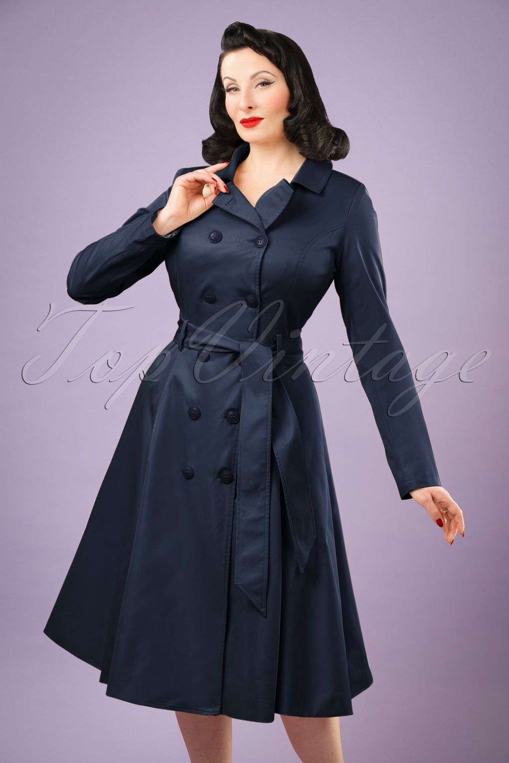 1950s Jackets, Coats, Bolero | Swing, Pin Up, Rockabilly 40s Korrina Swing Trench Coat in Navy �128.62 AT vintagedancer.com