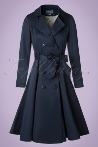 Collectif Clothing Korrina Swing Trenchcoat in Navy 20791 20161130 0004W