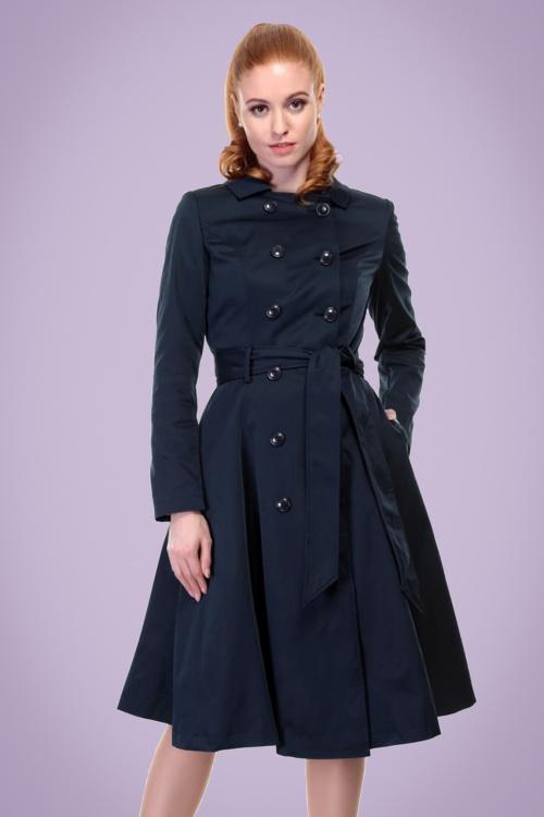 40s korrina swing trench coat in navy. Black Bedroom Furniture Sets. Home Design Ideas