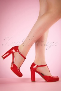 60s Phoebe Lacquer T-Strap Pumps in Red