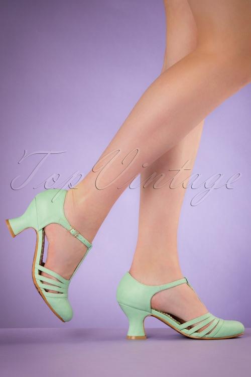 Bettie Page Shoes Lucy Mint T strap Pumps 401 40 19951 02232017 004W