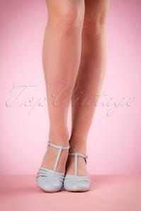 Bettie Page Shoes Lucy T strap Blue Pumps 401 30 19950 02232017 006W