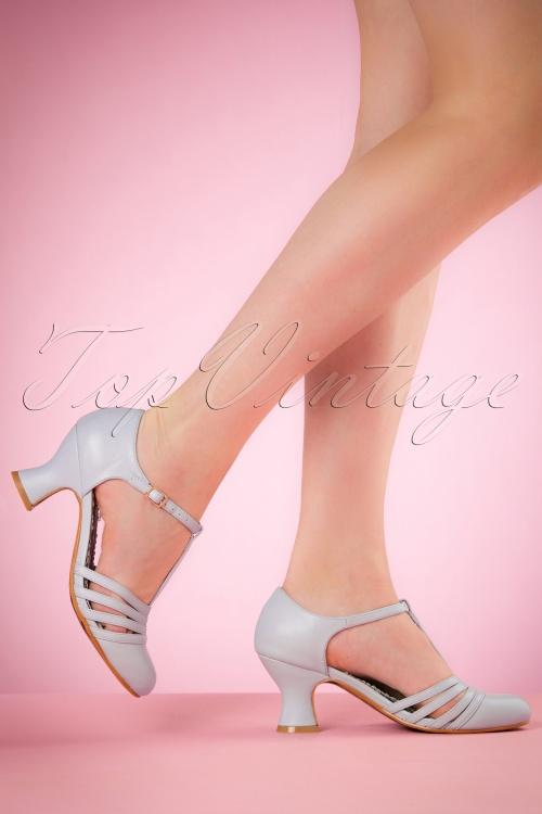 Bettie Page Shoes Lucy T strap Blue Pumps 401 30 19950 02232017 003W