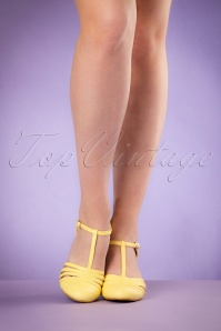 Bettie Page Shoes Lucy Yellow T strap Pumps 401 80 19953 02232017 006W