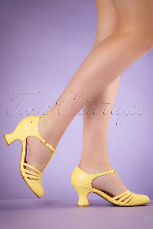d7b73d3a7ed Bettie Page Shoes Lucy Yellow T strap Pumps 401 80 19953 02232017 004W