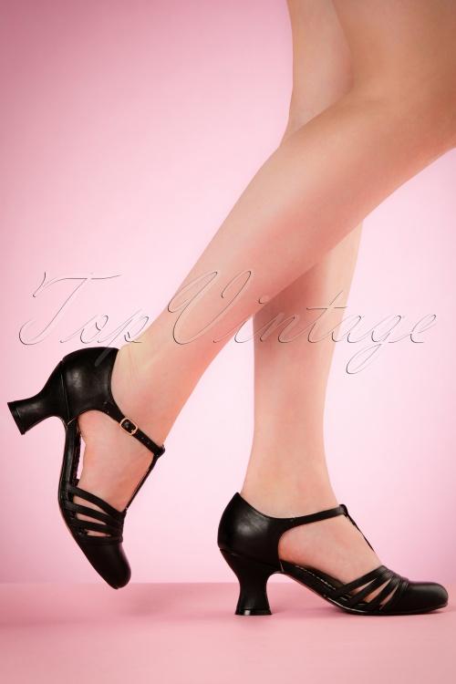 Bettie Page Shoes T strap BLack Pumps 401 10 19949 02232017 003W