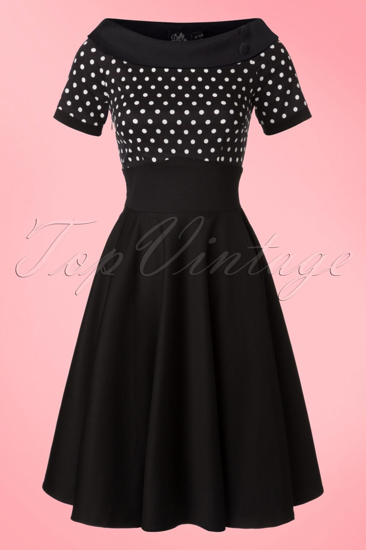 Pin Up Dresses | Pin Up Clothing 50s Darlene Polkadot Swing Dress in Black £44.06 AT vintagedancer.com