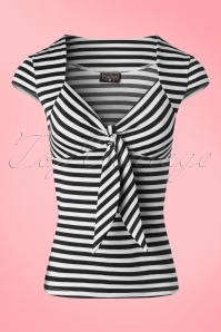 50s Tatiana Tie Top in Black and White Stripes