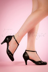 Bettie Page Shoes T strap BLack Pumps 401 10 19957 02232017 011W