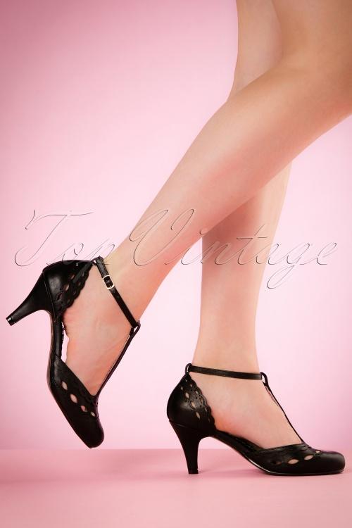 Bettie Page Shoes T strap BLack Pumps 401 10 19957 02232017 011W