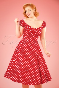 Collectif Clothing Dolores Doll swing dress Années 50 en Rouge à pois blancs